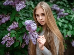 Model with Lilac Flowers