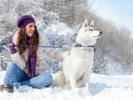 Model with her Husky