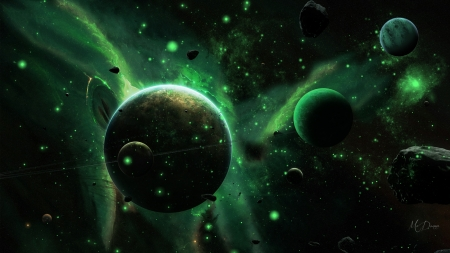 Space Green by M♥Donna - Firefox Persona theme, space, space junk, stars, planets, rocks, green, milky way