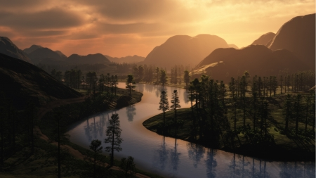 Winding River - sunset, forest, trees, dawn, Firefox Persona theme, browns, mountains, morning, river