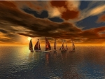 Sailing Boats Above the Cloudy Sky