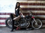 Krysten Ritter on a Motorcycle