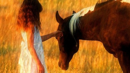 the touch - horse, woman, country, nature, girl