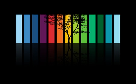 as a rainbow - colored, orange, blue, abstract, tree, yellow, dark, purple, red, rainbow, green, colorful, black, colors, color, 3d and cg, 3d