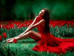 Lady in Red Among Tulips