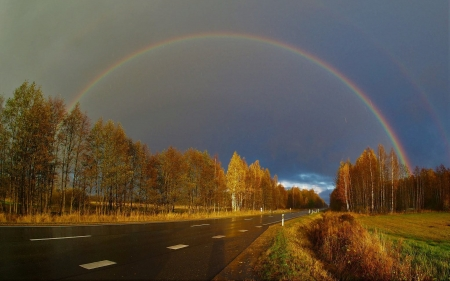 Rainbow ower Latvian Road - rainbow, Latvia, road, autumn