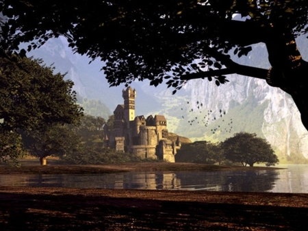 Lakeside Castle - lake, medieval, landscape, castle, mountain, birds, trees