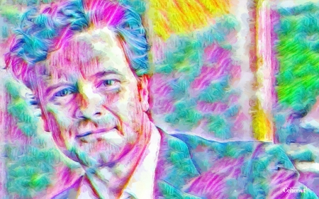 Colin Firth - portrait, actor, painting, pink, blue, pictura, Colin Firth, abstract, man, colorful, art, cehenot, green, yellow