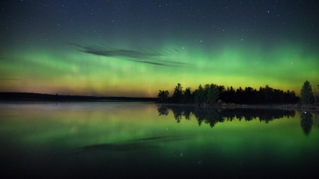 Northern Lights & Starry Sky - Rivers, Nature, Auroras, Northern Lights, Sky, Stars