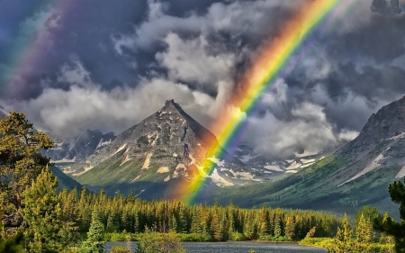 Rainbow Above the Forest - forest, mountain, nature, rainbow, clouds, trees
