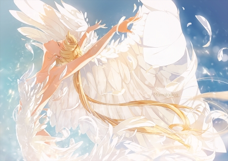 White Swan - dance, twintail, twin tail, princess serenity, nice, anime girl, gorgeous, elegant, sailormoon, usagi, feathers, anime, girl, lovely, sailor moon, princess, blonde, twintails, serenity, blonde hair, white, wings, blond hair, beauty, divine, sweet, blond, beautiful, pretty, twin tails, female