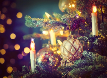 Christmas tree - branches, spruce, bokeh, toys, balls, holiday, candles, new year