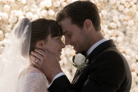 Fifty Shades Freed (2018) - white, actor, movie, woman, actress, couple, bride, black, man, Dakota Johnson, girl, Jamie Dornan, hand, fifty shades freed