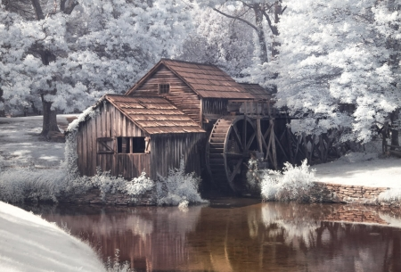 Infrared of Mabry Mill, Virginia - watermill, river, reflection, trees