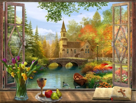 Autumn Church Frame - bridge, trees, colors, fruits, ducks, painting, boat, bible, artwork, flowers, river, fall, window