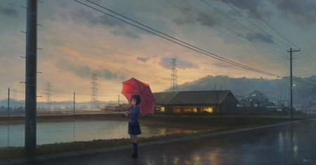Evening Walk As Rain Ends - School Uniform, Powerlines, Evening, Clouds, Seifuku, Umbrella, Anime Girl, Sky, Wet, Big Eyes, Anime, Pond, Reflection, Short Hair