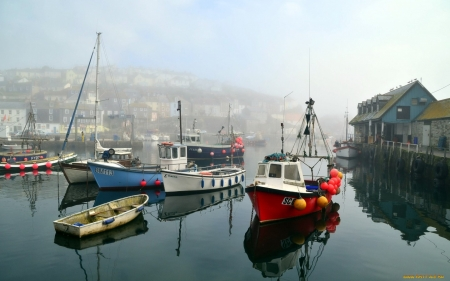 Boats - boats, sea, mist, port