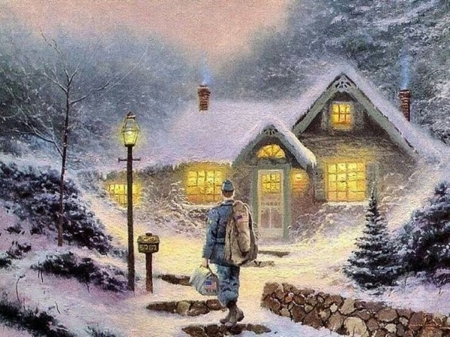 return in home - cool, art, winter, snow, beauty, people, nature, paintings