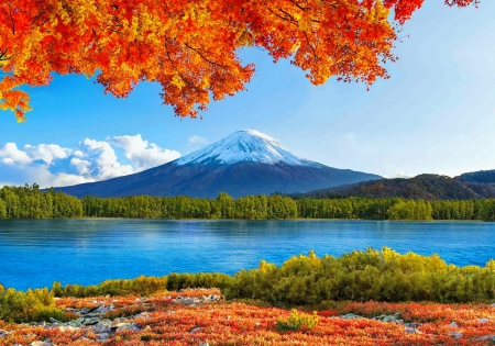 Autumn in the Far East - peak, view, branches, mountain, lake, east, tranquil, beautiful, autumn, fall, river, sky, reflection