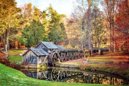 Mabry Mill at Fall - trees, reflection, water, colors, leaves, watermill