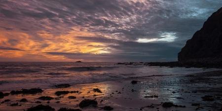Stormy Skies at Dana Point Headlands - sky, sea, clouds, sunset, rocks, california, coast