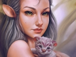 Elf girl with kitten