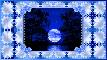 Blue Moon - moon, quilt, water, trees, blue