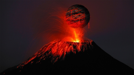 Volcanic Eruption - fire, lava, hot, Firefox Persona theme, volcano, mountain