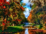 Beautiful Canal in the Autumn Park