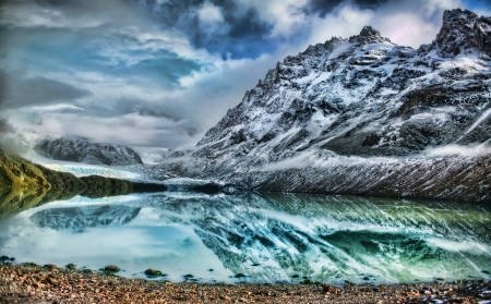 Amazing Lake - lake, winter, mountian, water