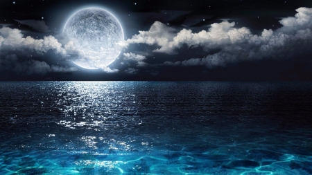 Reflection of the moon in the sea - cool, clouds, renderized, blue, nice, nature, scene, water, white, space, moon, moonlit, scenery, night, reflex, landscape, abstract, summer, black, mirror, moonlight, sea, ummer, amazing, beautiful, sky, reflection, ocean, awesome