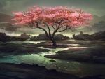 Pink tree on the dark river