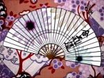 Purple And White Hand Fan
