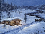 Cabin at Snowfall