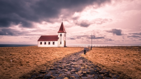 Church by the Sea - Architecture, Oceans, Sea, Nature, Churches, Clouds