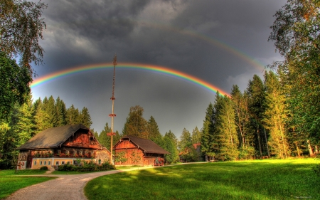 Rainbow in the Village - sky, nature, rainbow, village, forest, trees, house
