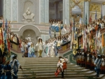 Reception of the Prince of Conde by king Louis XIV in Versai