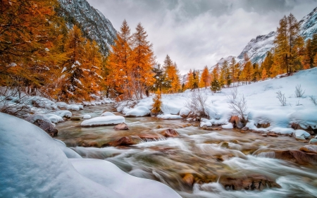 End of autumn - winter, beautiful, autumn, fall, creek, river, mountain, stream, hills, snow