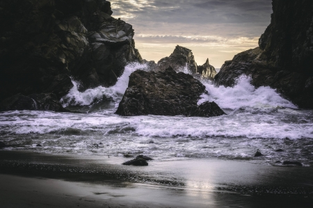 Pfeiffer Beach - sunset, ocean, nature, cool, beach, fun