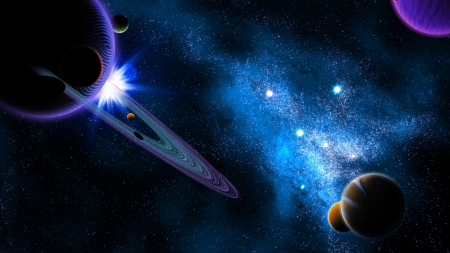 Planetary Space - 3d, digital art, space, stars, planets, galaxies