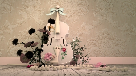 Violin - violin, pearl, pink, rose, alrun steiner, flower, white, instrument, necklace