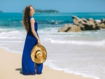 Woman in Blue at the Beach