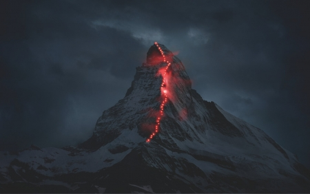 Mountain with Trail Lights