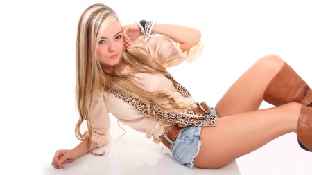 Valentina Gallego - short shorts, blondes, Valentina Gallego, jean shorts, models, simple background