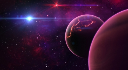 Planets - pink, planet, fantasy, space, stars, purple