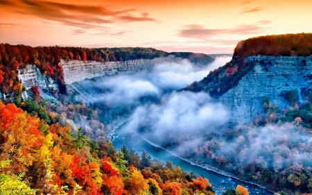 AUTUMN NATURE - fog, seasons, mountain, nature, mist, sunset, landscape, autumn, splendor, evening, sky