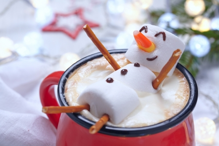 Sweet snowman - winter, cup, coffee, snowmna, sweet, cute, sugar, christmas, funny, craciun
