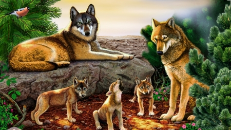 Family of Wolves - Firefox Persona theme, pups, wild, wolves, rocks, wolf, family, lobo