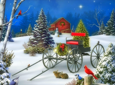 Midnight Singers - winter, wagons, cardinals, snow, stars, xmas and new year, love four season, attractions in dreams, snowman, birds, Christmas Tree, holidays, barns, winter holidays, Christmas