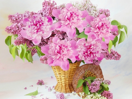 LILACS AND PEONY'S - FLOWERS, LILACS, PEONYS, PRETTY